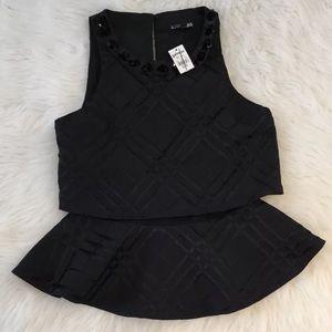 Express Peplum Black Tank Shirt Blouse Size XS NWT